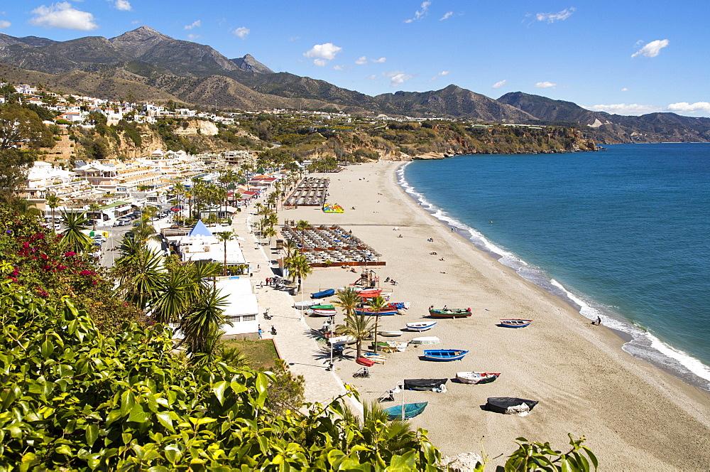 Playa Burriana, sandy beach, holiday resort town of Nerja, Province of Malaga, Spain, Europe