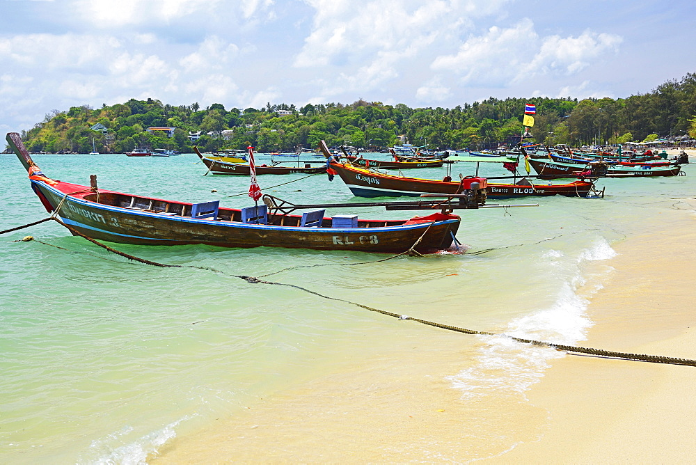Typical colorful longtail boats, Rawai Beach, Phuket, Thailand, Asia