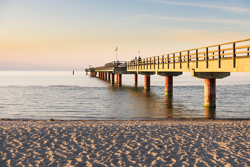 Pier and beach in Prerow, Baltic Sea, Darss, Mecklenburg-Western Pomerania, Germany, Europe