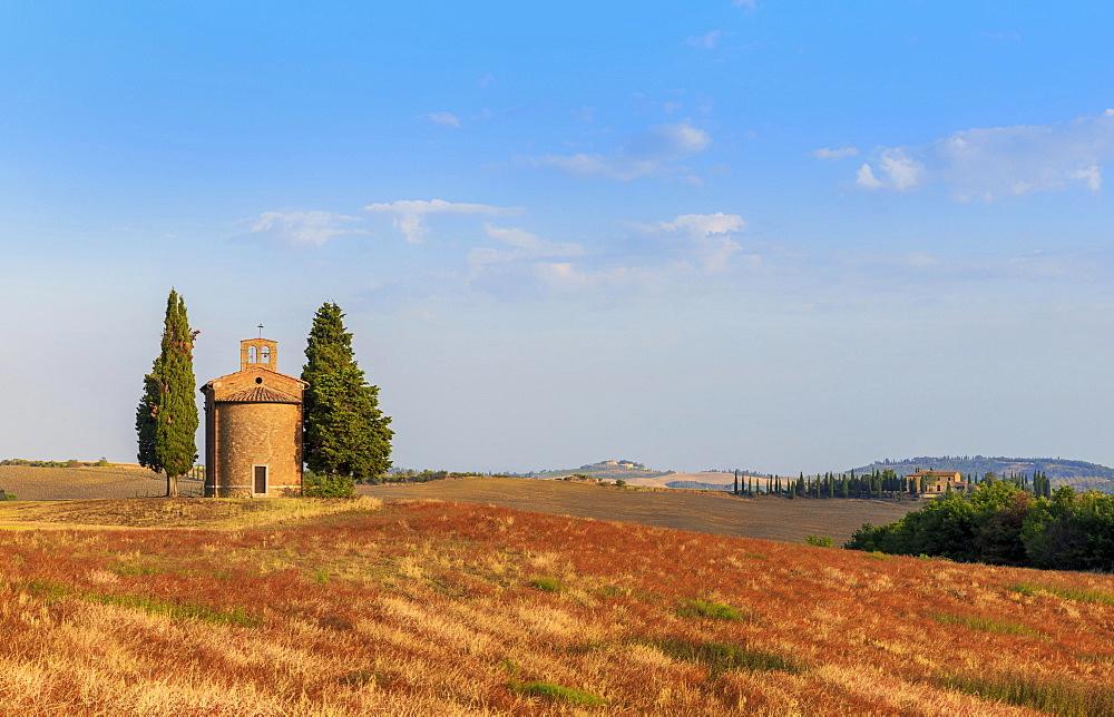 Cappella di Vitaleta, chapel, Val d'Orcia, Tuscany, Italy, Europe