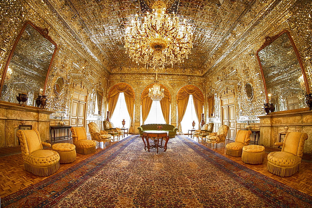 Magnificent Golden Hall, Golestan Palace in Tehran, Iran, Asia