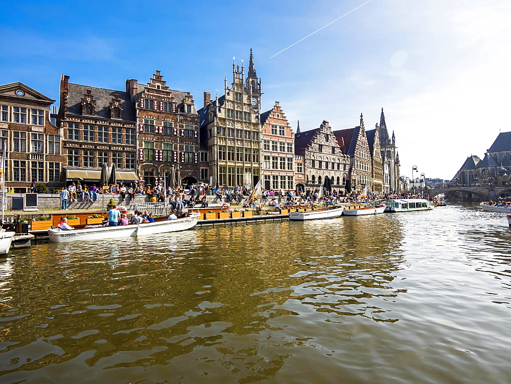 Leie River and promenade on the Graslei, with old guild houses and pleasure boats, Ghent, Flanders, Belgium, Europe