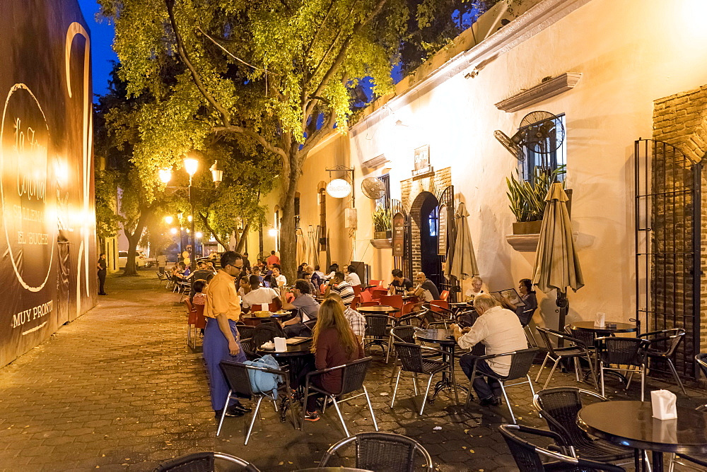 Sidewalk cafe SegaZona in the Zona Colonial old town, Santo Domingo, Dominican Republic, Central America