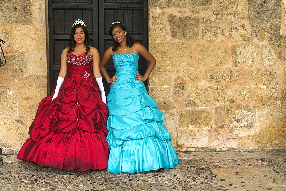 Young women in festive dress celebrate their 15th birthday, the Quinceanera or Quince, capital Santo Domingo, Dominican Republic, Central America