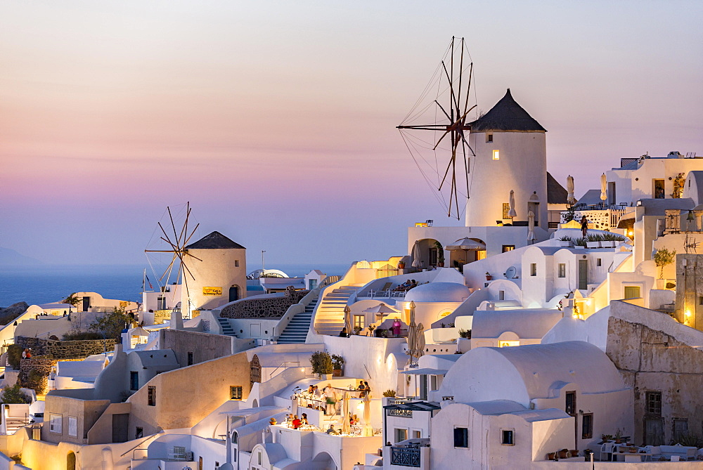 Town, windmills, dusk, Oia, Santorini, Cyclades, Greece, Europe