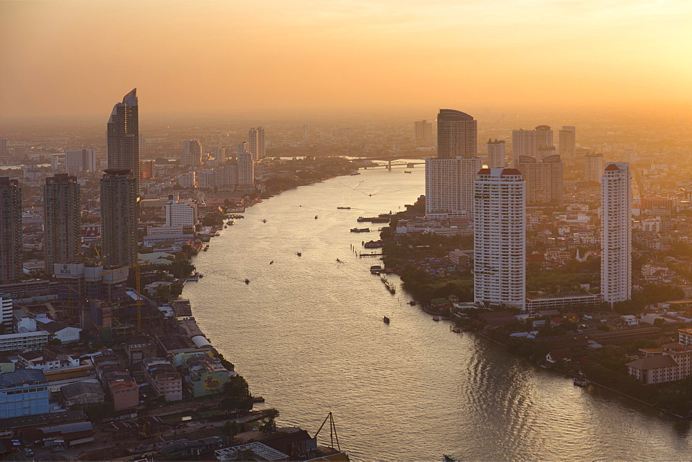 View from Lebua State Tower with river Mae Nam Chao Phraya at dusk, Bang Rak District, Bangkok, Thailand, Asia
