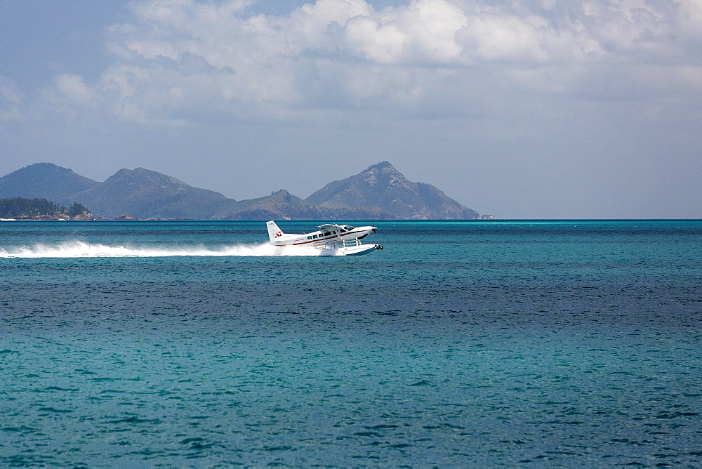 Seaplane in Great Barrier Reef Marine Park, Whitsunday Islands National Park, Whitsunday Islands, Queensland, Australia, Oceania