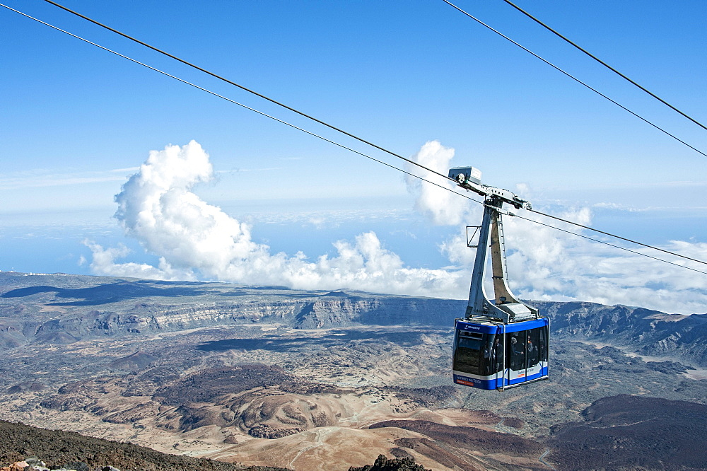 View from the mountain station in the crater of the volcano Teide with gondola of the cable car, Teide National Park, Parque Nacional de las Canadas del Teide, Tenerife, Spain, Europe