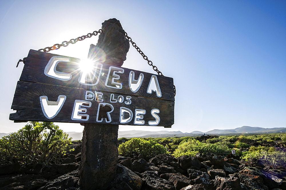 Cueva de los Verdes, sign, Lanzarote, Canary Islands, Spain, Europe