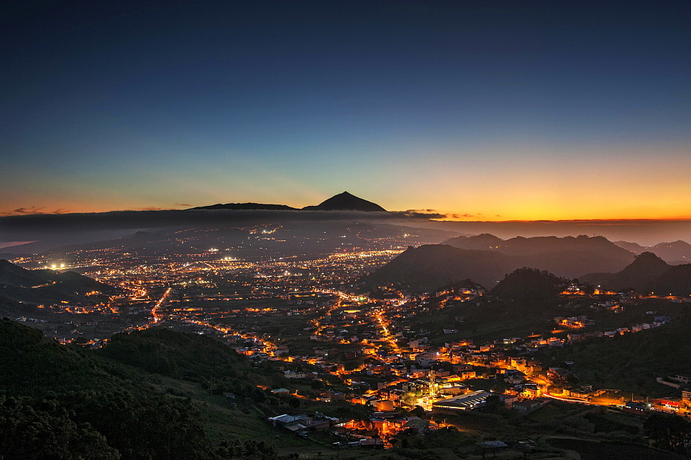 View over San Cristobal de La Laguna to Mount Teide at sunset, Tenerife, Spain, Europe