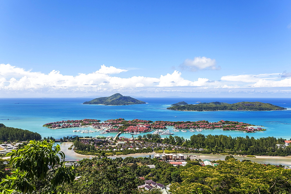 East cost with Resort Eden Island, Ile au Cerf, Ste Anne Marine National Park, Mahe Island, Seychelles, Africa