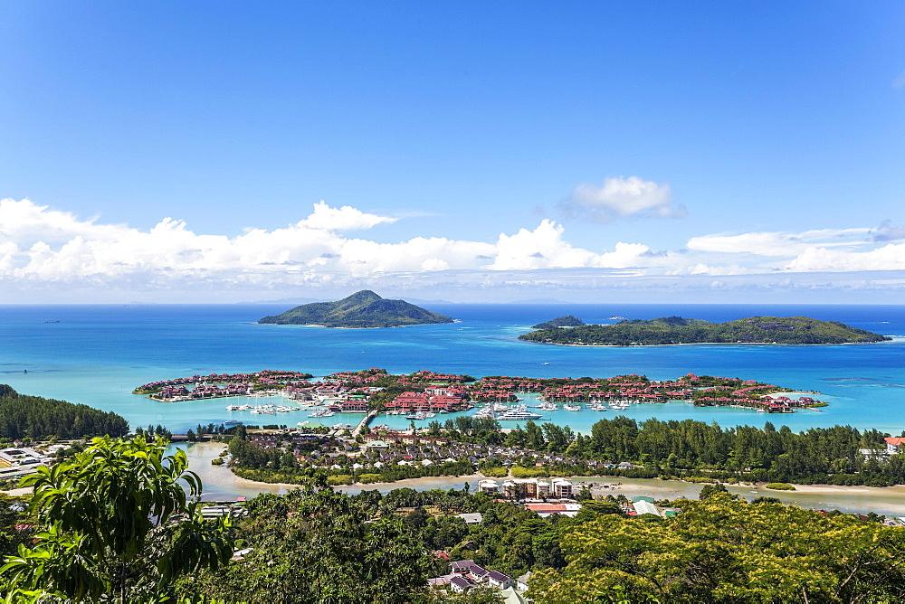 East cost with Resort Eden Island, Ile au Cerf, Ste Anne Marine National Park, Mahe Island, Seychelles, Africa