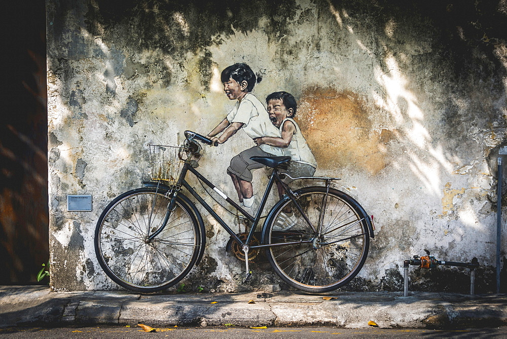 Little Children on a Bicycle, mural, Streetart, by Lithuanian artist Ernest Zacharevic, George Town Festival 2012, Armenian Street, George Town, Penang, Malaysia, Asia - 832-380296