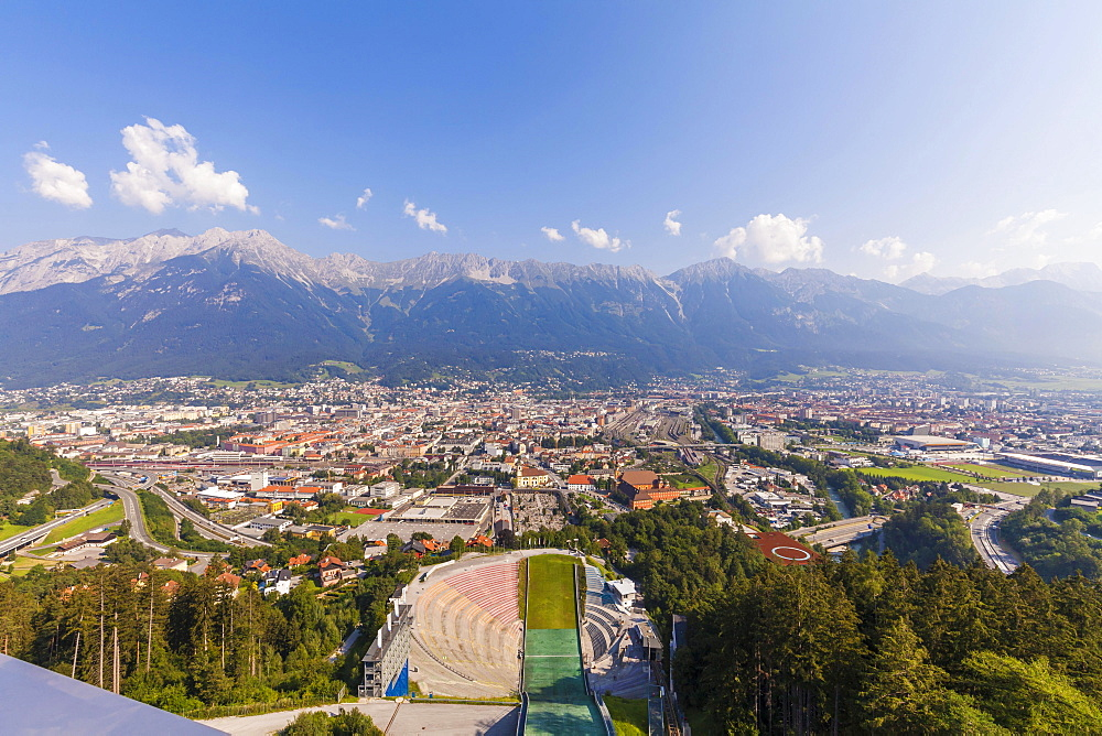 View from the ski jump tower, ski jump, Bergisel Stadium, Bergisel, Innsbruck, Tyrol, Austria, Europe