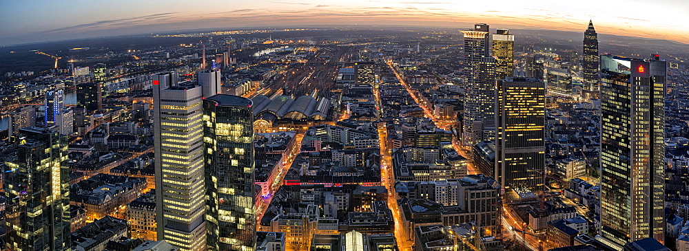 View of the city from the Main Tower at dusk, Frankfurt am Main, Hesse, Germany, Europe