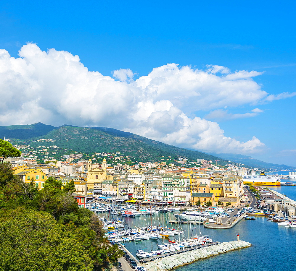 Overview of the old town and the old harbor, Bastia, Corsica, France, Europe