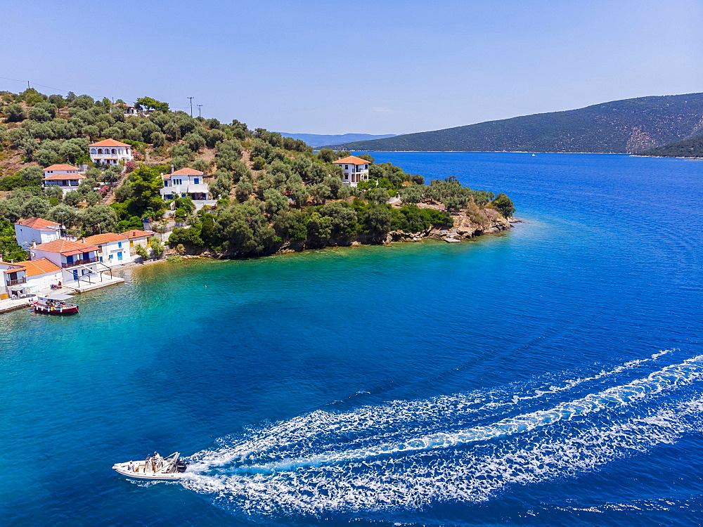 Aerial View, Paleo Trikiri Bay, Pangias Trikeri Island, Trikeri-Milina, Volos Region, Trikiri Strait, Pelion Peninsula, Pagaitic Gulf, Greece, Europe