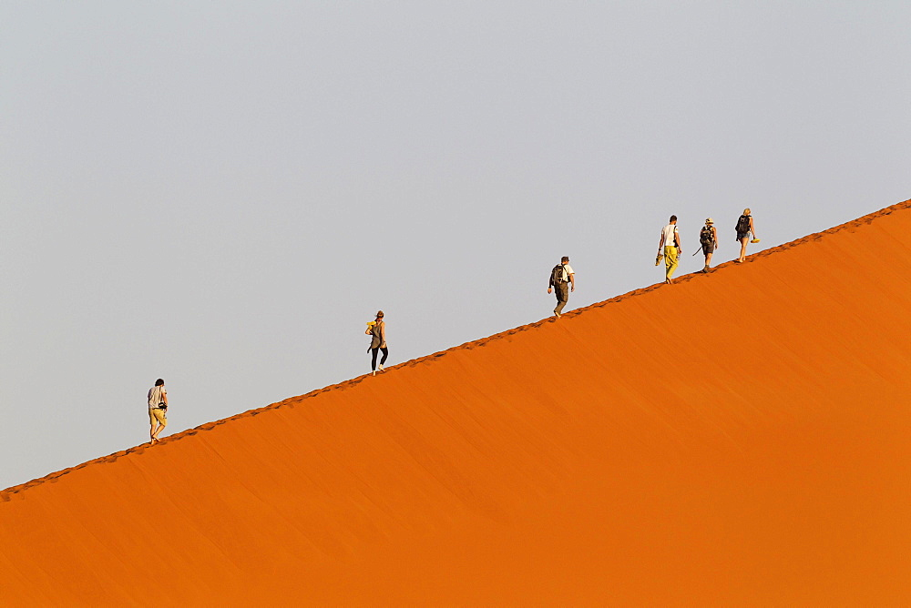 Tourists climbing Dune 45 in the Namib Desert, most likely the world's most photographed and climbed dune, in the evening, Namib-Naukluft National Park, Namibia, Africa