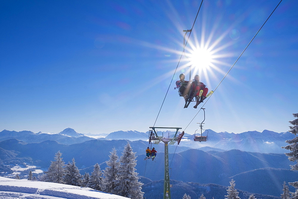Finstermünz chairlift, ski resort Brauneck, Lenggries, Isarwinkel, Bavarian Prealps, Upper Bavaria, Bavaria, Germany, Europe