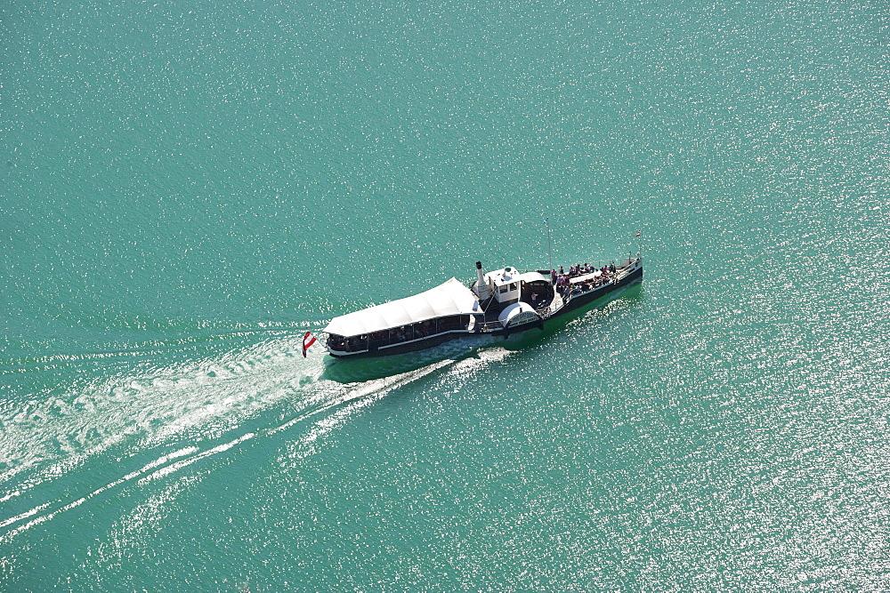 Scheduled boat service on Wolfgangsee Lake, Kaiser Franz Josef paddle steamer, Salzkammergut, Salzburg State, Austria, Europe