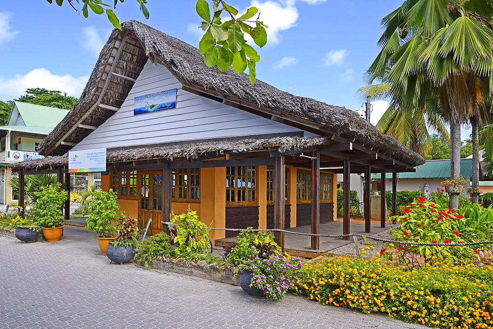 Tourism office at harbour, La Passe, La Digue Island, Seychelles, Africa