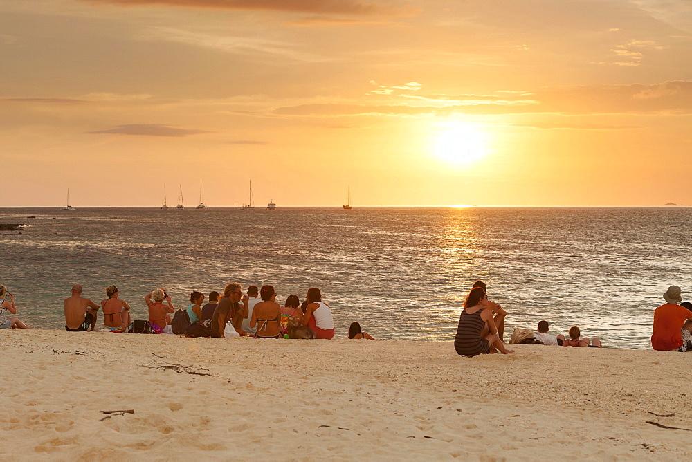 People watching the sunset on Ko Lipe or Koh Lipe island, Tarutao National Marine Park, Thailand, Asia