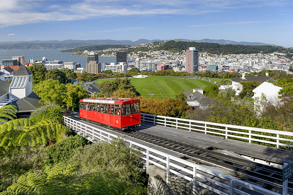 Wellington Cable Car on railway track, funicular railway, harbour and city center behind, Wellinton, New Zealand, Oceania