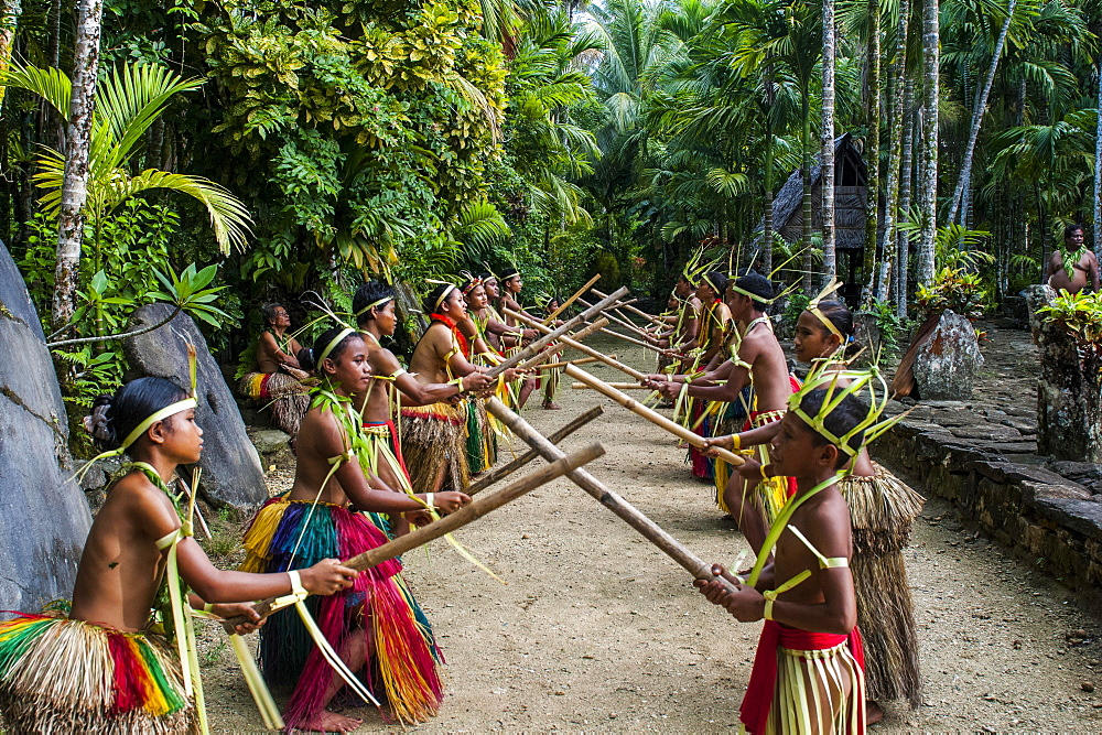 Stick dance performed by the tribal people of Yap Island, Caroline Islands, Micronesia, Oceania