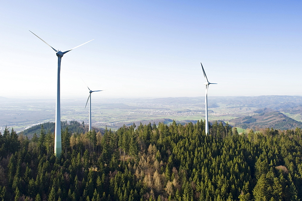Aerial view, wind turbines on Rosskopf mountain, Freiburg im Breisgau, Baden-Wuerttemberg, Germany, Europe