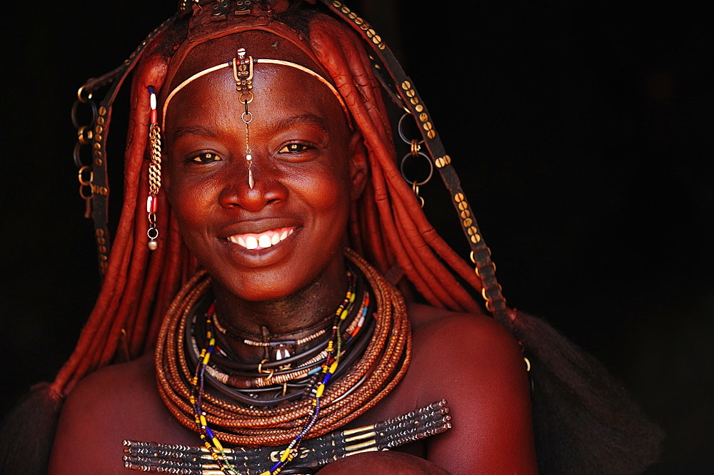 Portrait of a married Himba woman, smiling, Kunene District, Kaokoveld, Namibia, Africa