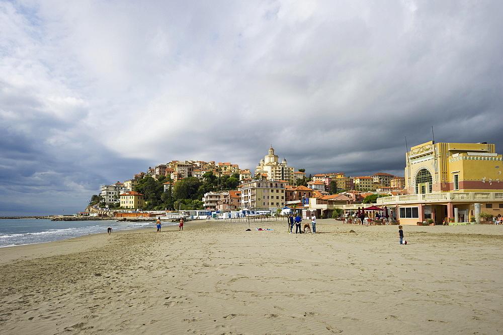 Beach in Porto Maurizio, Imperia, Province of Imperia, Riviera di Ponente, Liguria, Italy, Europe