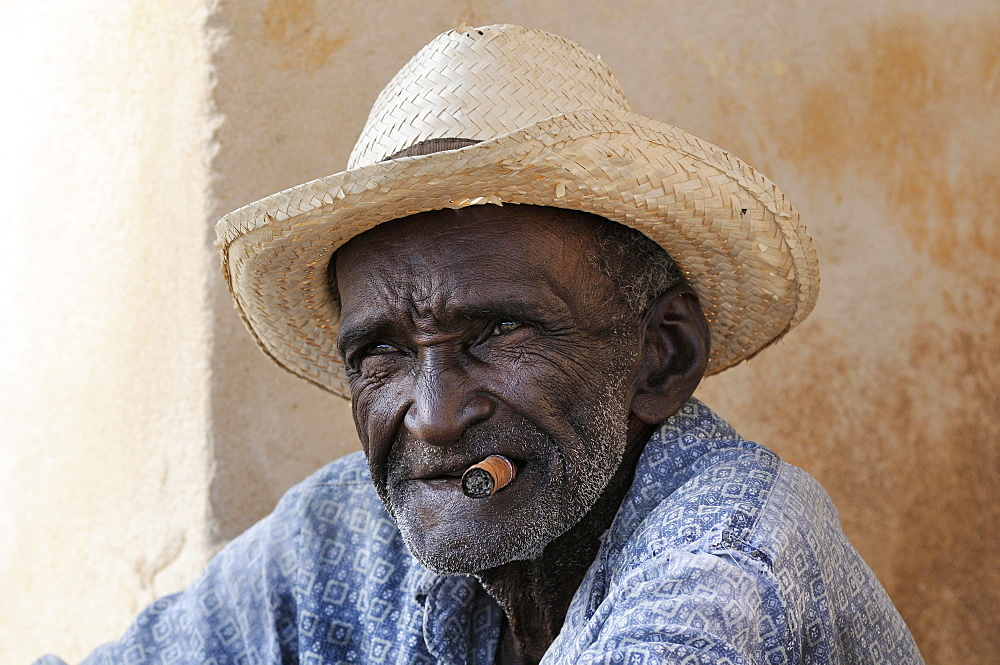 Man with cigar and straw hat, Trinidad, Sancti Spiritus Province, Cuba, Central America
