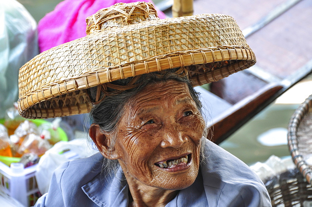 Old woman with hat, portrait, Bangkok, Thailand, Asia