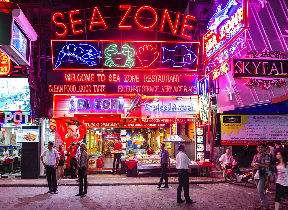 Walking Street, Sea Zone Seafood Restaurant, neon signs, Pattaya, Chon Buri Province, Thailand, Asia