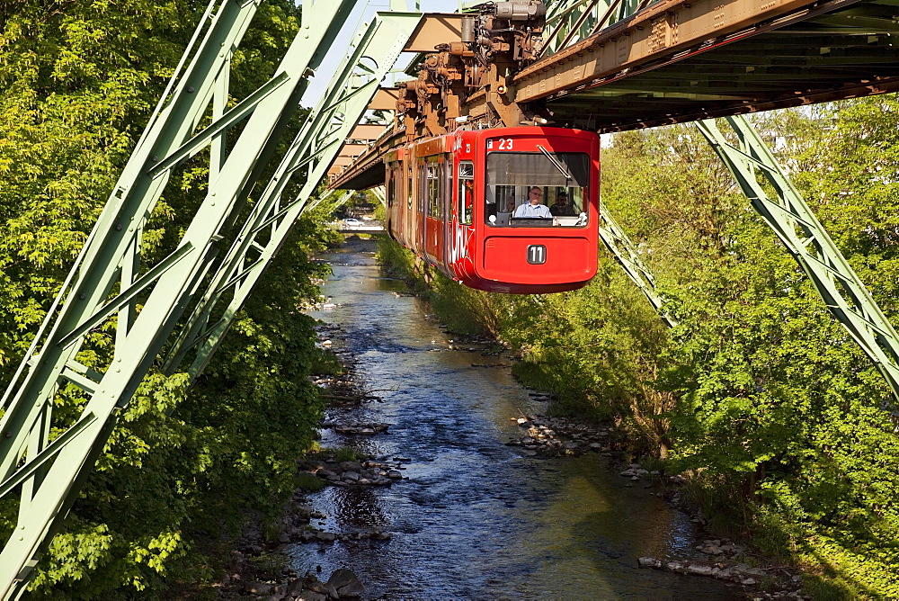 Suspension railway above the river Wupper, Wuppertal, Bergisches Land, North Rhine-Westphalia, Germany, Europe