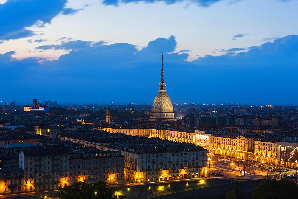 Mole and Piazza Vittorio Veneto, at night, Turin, Piedmont, Italy, Europe