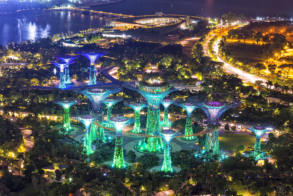 The Supertree Grove, Gardens by the Bay at night, Singapore, Asia