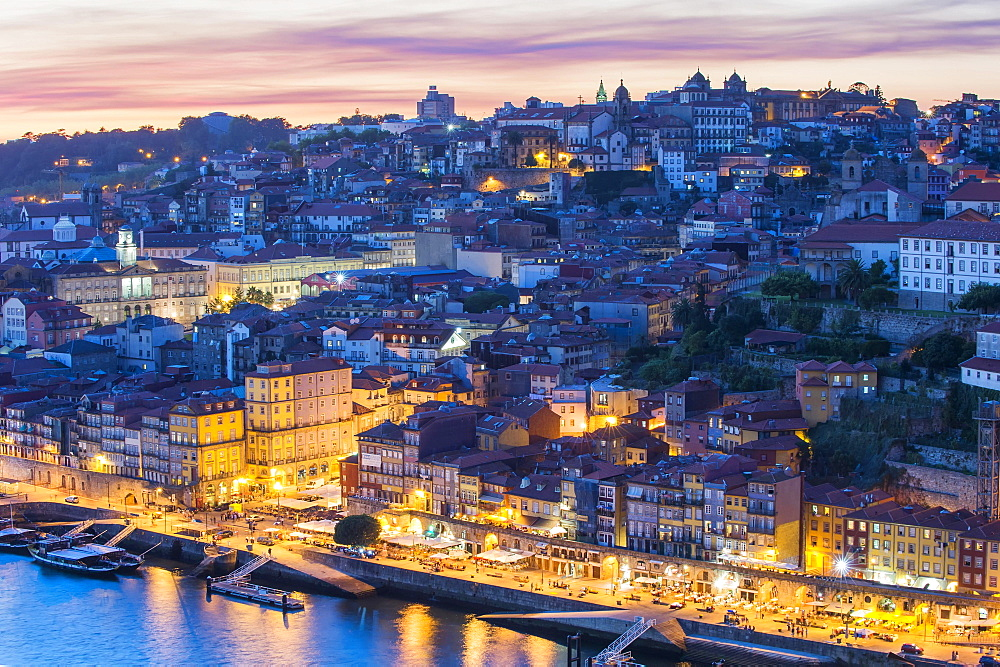 Douro river and the historic centre of Ribeira at sunset, Porto, Unesco World Heritage Site, Portugal, Europe