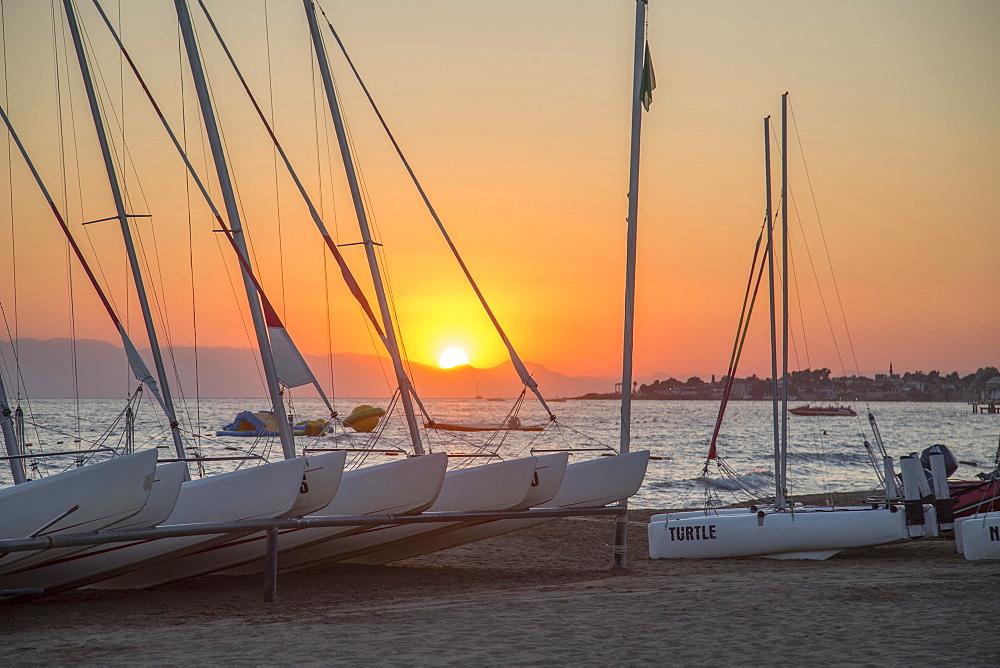 Sailboats at sunset, Robinson Club Pamfilya, Side-Sorgun, Side Belediyesi, Antalya, Turkey, Asia