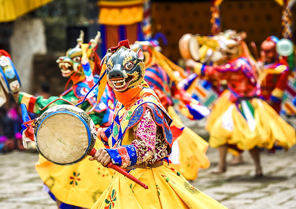 Dancer at Mask Dance, Religious Tsechu Monastery Festival, Gasa District District District Tshechu Festival, Gasa, Himalaya Region, Kingdom of Bhutan