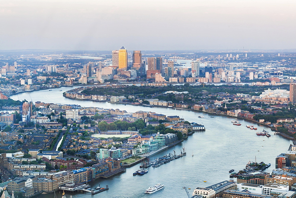 View of the Canary Wharf financial center and the river Thames, London, United Kingdom, Europe