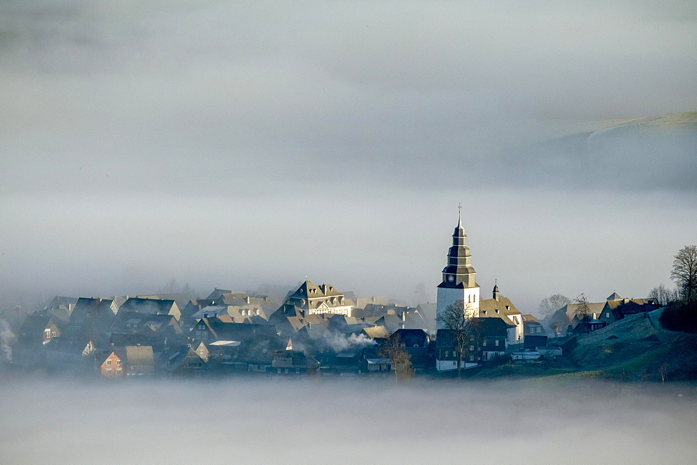 Eversberg in the fog, Meschede, Sauerland region, North Rhine-Westphalia, Germany, Europe