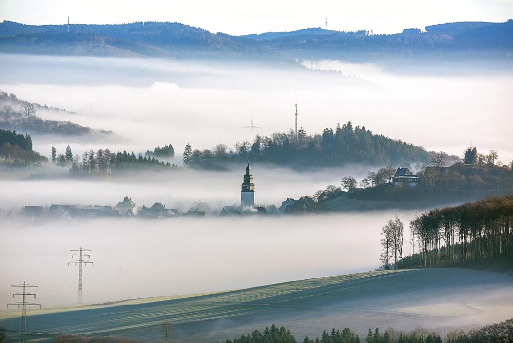 Eversberg in the fog, Meschede, Sauerland region, North Rhine-Westphalia, Germany, Europe