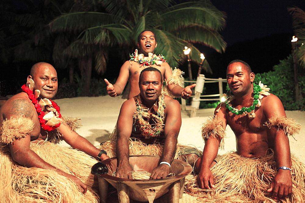 Men taking part in the Kava Ceremony, Malolo Island, Mamanuca Islands, Fiji, Oceania