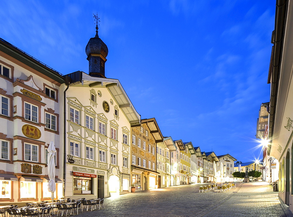 Residential and commercial buildings at dusk, market street, pedestrian area, Bad Tölz, Upper Bavaria, Bavaria, Germany, Europe