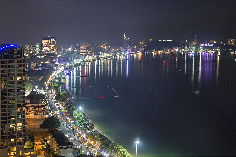 Cityscape at night, Beach Road, Pattaya Bay, Pattaya, Chon Buri Province, Thailand, Asia