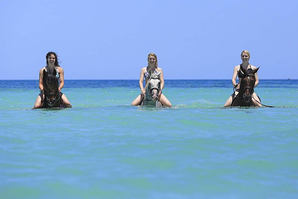 Three women wearing bikinis riding Barb horses in the sea, riding vacation, Djerba, Tunisia, Africa