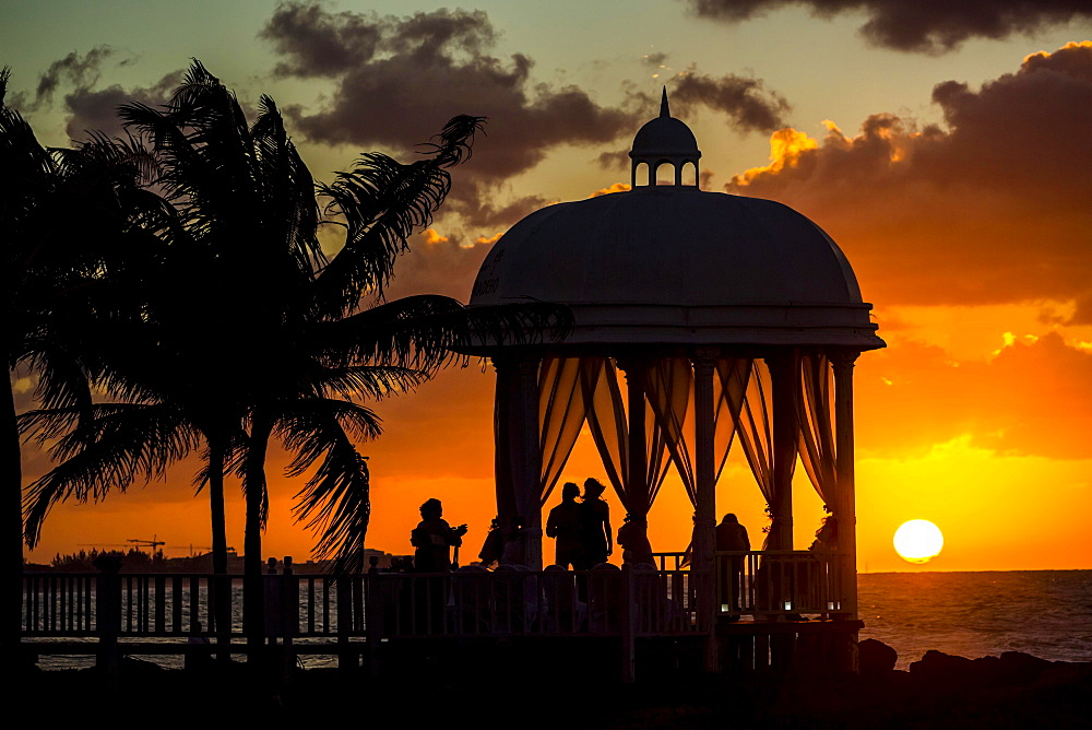 Wedding pavilion at Varadero beach with sunset in the Paradisus Varadero Resort & Spa hotel complex, Varadero, Matanzas, Cuba, Central America