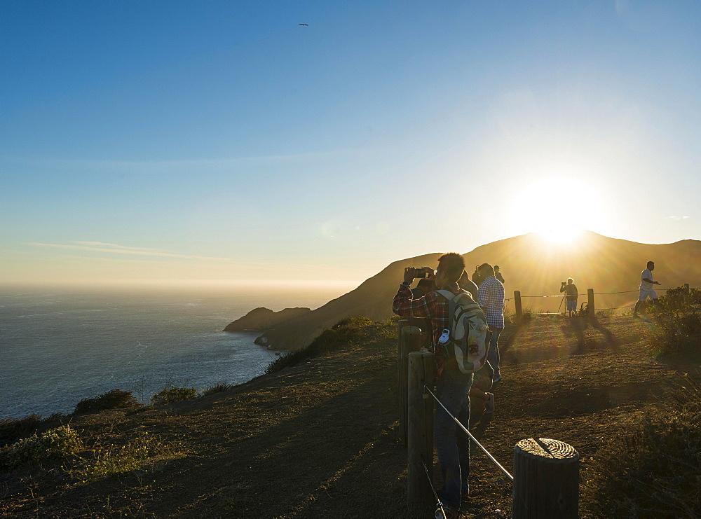 Tourists at a viewpoint, San Francisco, California, USA, North America