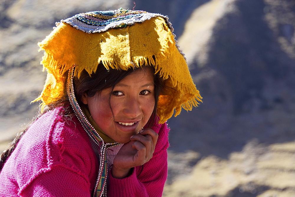 Indio girl in traditional costume, portrait, Cusco Province, Peru, South America